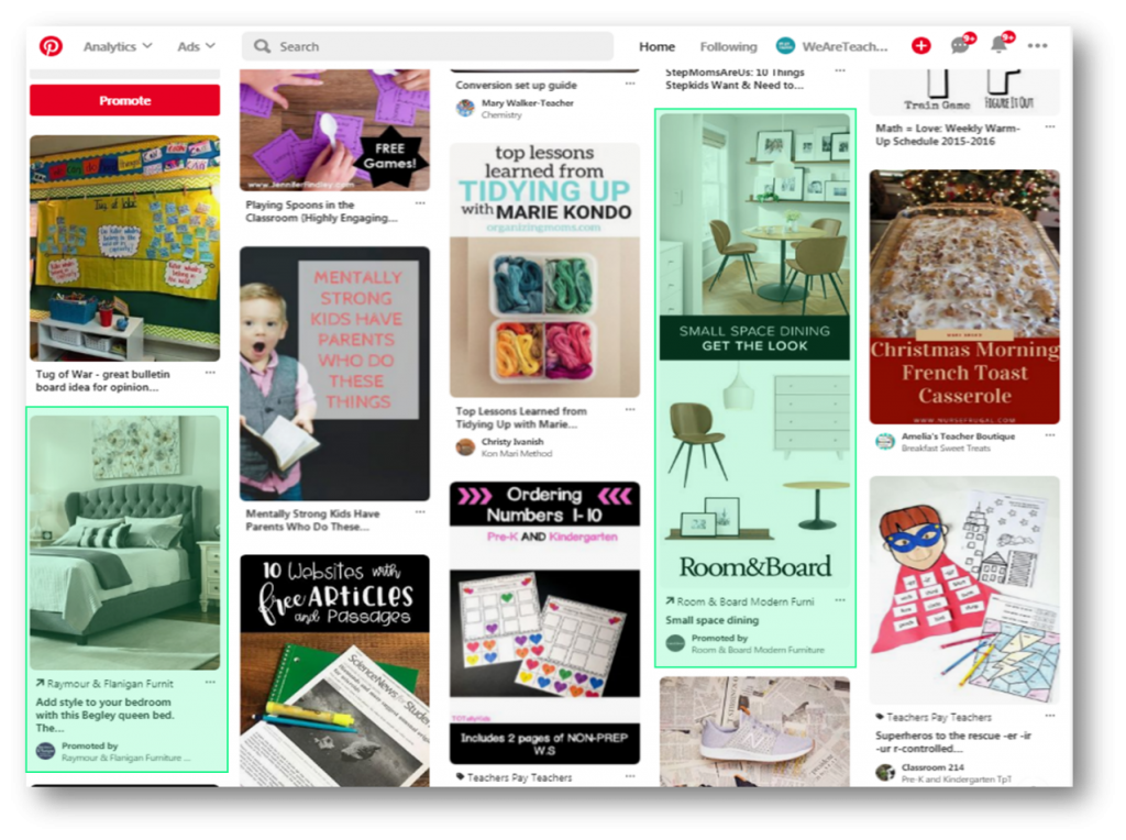 Pinterest Advertising Teachers examples